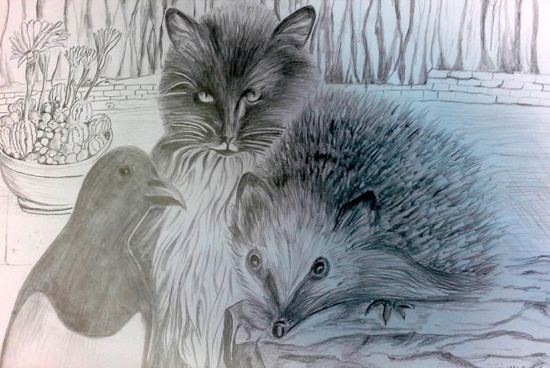 Elster, Katze und Igel