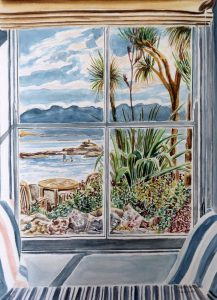 Blick aus dem Fenster auf die Bucht vor Mousehole, Cornwall