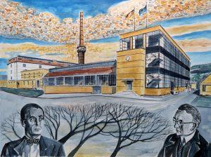 Architekt Gropius und Firmengründer Benscheidt vor dem Fagus-Werk