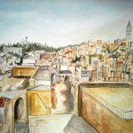 Jerusalem Blick auf Altstadt, 1985, Aquarell