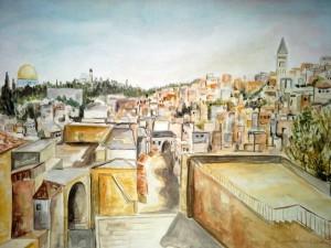 1985_Jerusalem_Blick_auf_Altstadt_Aquarell