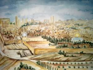 1985_Jerusalem_Blick_vom_Ölberg_Aquarell
