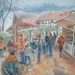Weihnachstmarkt in Sottrum, 2013, Aquarell