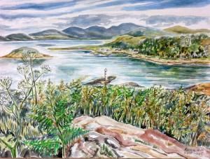 Blick von Kerrera auf den Sound of Jura