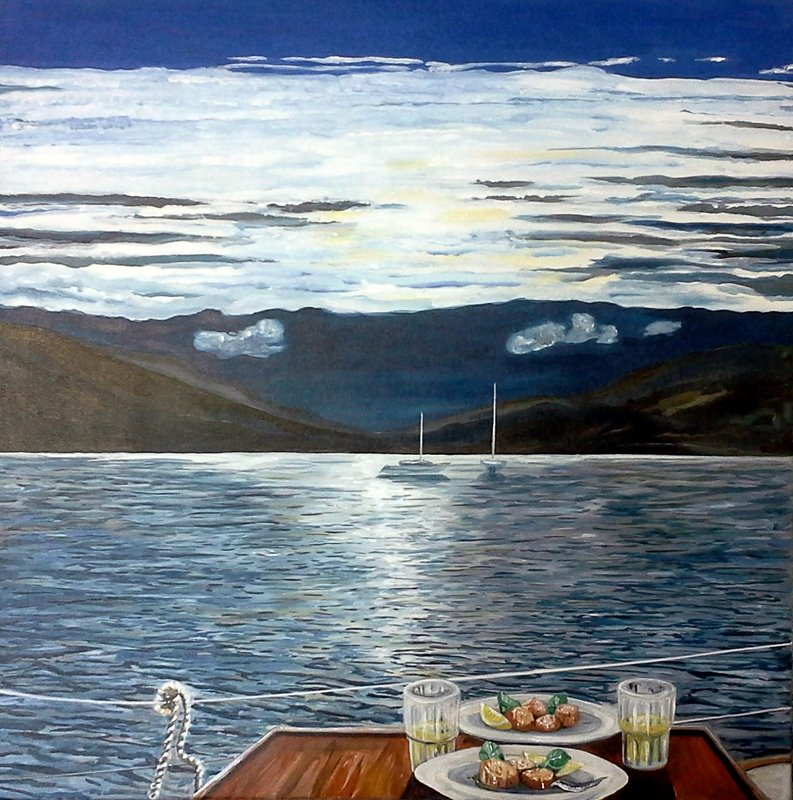 Vor Anker liegend vor der Insel Rum, Schottland